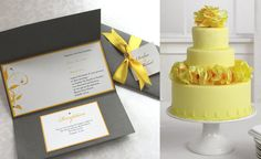 Grey and yellow invites and yellow cake