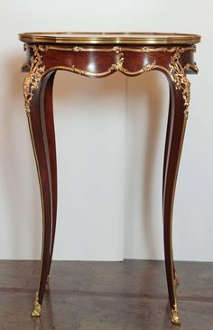 century, French, Louis XV mahogany and gilt bronze marble-top side table. Single drawer attributed to François Linke. Rococo Furniture, Eclectic Furniture, French Furniture, Classic Furniture, Luxury Furniture, Marble Top Side Table, Wooden Side Table, Elegant Home Decor, Elegant Homes