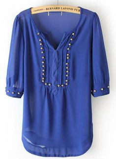 Blue V Neck Half Sleeve Rivet Chiffon Blouse