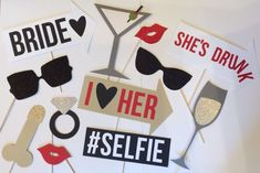 BACHELORETTE PHOTO BOOTH PROPS (12 piece)  No assembly required! Treat the bride with these hilarious photo booth props and memories to hold on to forever!  >>DETAILS:  12 pieces:  1 Matte lip 1 Glitter lip 1 Martini glass 1 Champagne glass 1 Diamond ring 2 Sunglasses (2 different styles) 1 #Selfie sign 1 I love her arrow 1 Bride arrow 1 Shes drunk arrow 1 Penis (you may color customize, just message me!)  All made with durable card stock and a wooden dowel  >>PRODUCTION AND SHIPPING…