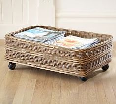~ Underbed Storage- DIY with thrifted baskets and wheels from old plastic drawer units.
