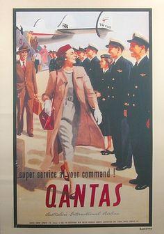 Classic Qantas Travel Poster