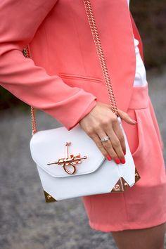 White handbag.