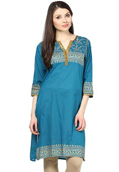Teal Blue Cotton Readymade Kurti: TEC302