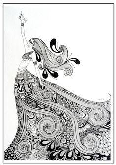 Trendy art ideas for adults painting zentangle Fashion Art Illustration, Pen Art, Art Drawings, Doodle Art, Mandala Design Art, Art, Color, Doodle Drawings, Tangle Art