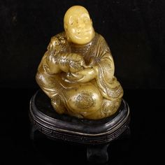 Chinese Natural Shoushan Stone Statue - Arhat & Tiger