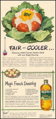 This festering tomato is Country Garden Salad with Magic French Dressing.  (Woman's Day, 1949)