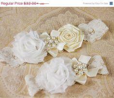 SALE Ivory Lace Garter Set Lace Wedding Garter Set by GarterQueen