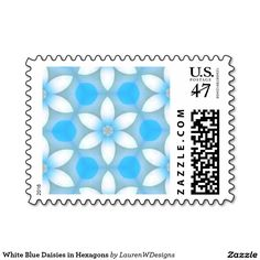 White Blue Daisies in Hexagons Postage Stamp