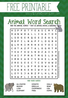 FREE PRINTABLE - Animal Word Search - from LearnCreateLove.com