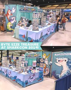 Byte Size Treasure Booth Display [fabric table cloths, vinyl banners, and all signage printed by RewyndPrinting] Cute Shark, Vinyl Banners, Marine Life, Sea Creatures, Conservation, Signage, Cloths, Printing, Ocean