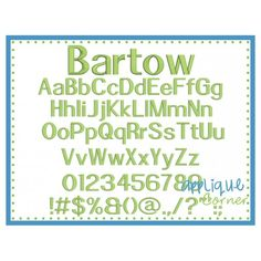 Bartow Embroidery Font