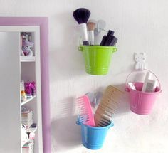 maybe with paint cans? Diy And Crafts, Crafts For Kids, Makeup Items, Craft Organization, Paint Cans, Decoration, My Room, Sweet Home, Crafty