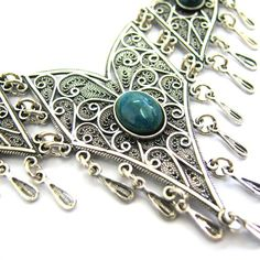 Ethnic Chandelier Necklace 925 Sterling Silver Filigree by adiaart,