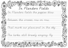 In Flanders Field Copy Work! This site has TONS of free activities!