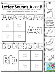 BEGINNING SOUNDS- Cut and match the beginning sounds. Trace the letters. TONS of hands-on printables!