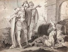 Poiché molti statisti e filosofi erano andati da Alessandro congratulandosi con…