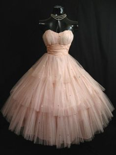 Vintage 1950's Shell Pink Short Prom Dresses Tulle Sequins Tea Length Party Homecoming Graduation Dress 2016 Cheap Party Gowns