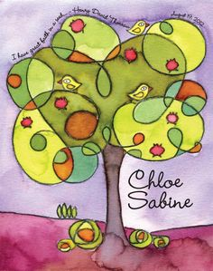 Tree Tops - watercolor personalized name print. $40,00, via Etsy.