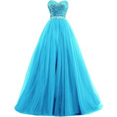 Chengzhong Sun Women Ball Gown Sequins Top Tulle Skirt Prom Evening... ($150) ❤ liked on Polyvore featuring dresses, blue dress, sequin dress, sequin prom dresses, prom dresses and tulle prom dresses