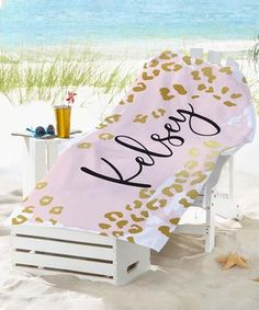 This Pink & Gold Metallic Leopard Personalized Name Beach Towel is perfect! #zulilyfinds Toilet Brushes And Holders, Personalized Gifts For Mom, Leopard Spots, Summer Gifts, Have Some Fun, Beach Towel, Pink And Gold, How To Find Out, Congratulations