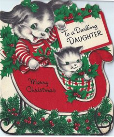 Vintage Norcross Christmas greeting card: puppy kitten sleigh holly - 1952