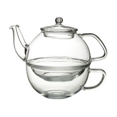 Peking Glass Tea for One stacking teaset (teapot and cup). clear glass w/ removable stainless steel infuser/strainer for the pot, from Whittard's in London