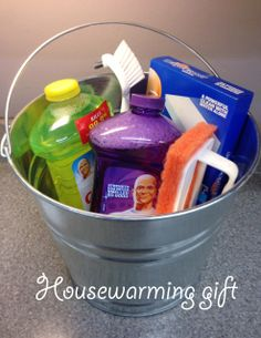 Housewarming or wedding gift idea -fill a cleaning bucket with your favorite cleaning supplies!