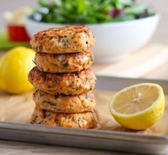 These super juicy, flavour-packed baked Lemon Herb Salmon Cakes started as a craving and turned into a recipe that was even more delicious than I expected! Egg White Recipes, Greek Recipes, Fish Recipes, Seafood Recipes, Cooking Recipes, Healthy Recipes, Advocare Recipes, Protein Recipes, Protein Foods