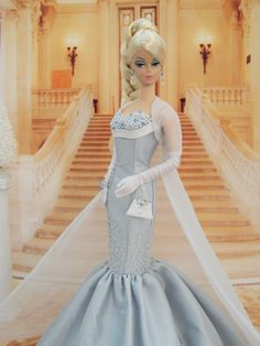OOAK \'Frozen\' Ball Gown Fashion for Silkstone Barbie by Joby Originals