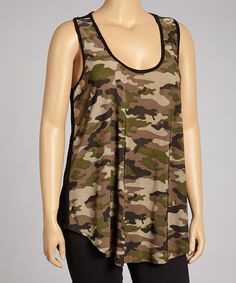 Take a look at this Olive Camo Sleeveless Top - Plus by 24/7 on #zulily today!