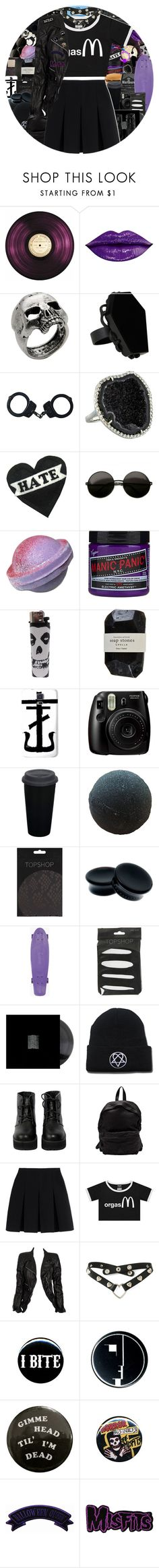 """o r g a s M"" by chemicalfallout249 ❤ liked on Polyvore featuring CASSETTE, John Richmond, Hot Topic, Kimberly McDonald, Manic Panic NYC, Cassia, Fujifilm, Topshop, The WhitePepper and Officine Creative"