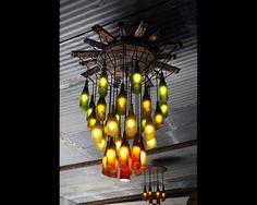 20 bright ideas diy wine beer bottle chandeliers pinterest rustic wine bottle and half barrel chandelier mozeypictures Choice Image
