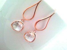 ROSE GOLD Earrings PInk Wedding Earrings Drop by LaLaCrystal, $30.50