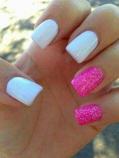 Hot pink glitter and white nails