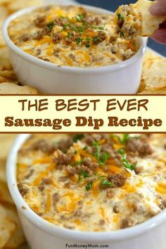 Sausage Dip - This hot cheese dip may just become your favorite game day recipe! Made with cream cheese and cheddar this sausage cream cheese dip is so delish you'll want to throw a Super Bowl party just so you have an excuse to make it again! Sausage Cream Cheese Dip, Hot Cheese Dips, Cheese Dip Recipes, Sausage Recipes, Cooking Recipes, Hot Sausage, Dips With Cream Cheese, Easy Dip Recipes, Cream Cheeses