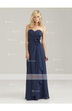 Sheath/Column Sweetheart Zipper Floor-Length Chiffon Sleeveless Bridesmaid Dresses