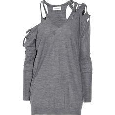 Julien Macdonald Slashed merino-wool sweater ($1,020) ❤ liked on Polyvore featuring tops, sweaters, shirts, dresses, women, grey sweater, long sleeve sweaters, grey long sleeve shirt, merino wool shirt and grey shirt