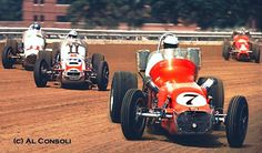 AJ Foyt leads the pack during the 1970 Hoosier Hundred with Jerry Poland Jim Malloy & Mario Andretti in pursuit. Al Consoli photo. Sprint Car Racing, Dirt Track Racing, Auto Racing, Vintage Race Car, Vintage Auto, Classic Race Cars, Mario Andretti, Old Race Cars, Indy Cars