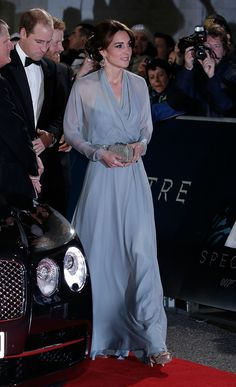 Bond Girl Kate was the picture of graceful elegance in a powder-blue wrap gown by Jenny Packham during the royal film performance of Spectre.