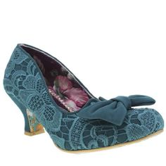 womens irregular choice turquoise fancy that lace low heels