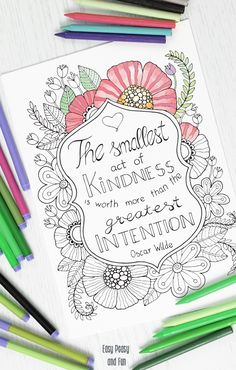 Kindness Quote Coloring Page for Adults