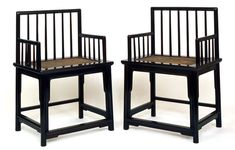 A pair of Qing Dynasty chairs, in Zitan Wood Rose, with Spindleback design.  (in Dec 2012). At Ming Furniture gallery, New York.