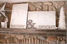 Christmas art canvas Merry and bright snow silver and white