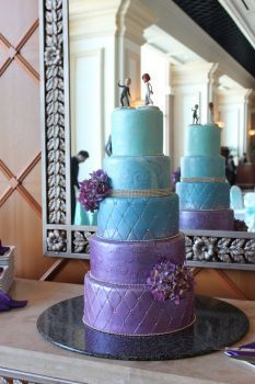 Wedding cake, purple and tiffany blue in ombre design; Caitlin Arnold Weddings and Events, Mandalay Bay bakery