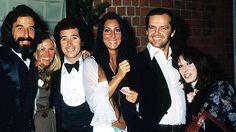 (L-R): Lou Adler, Britt Ekland, David Geffen, Cher, Jack Nicholson & Angelica Houston at the 1974 Grammys.