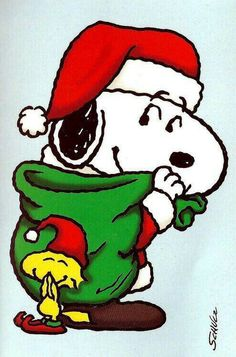 Santa Snoopy With Christmas Sack of Presents With Woodstock the Elf Wearing an Elf Hat and Giggling Snoopy Frases, Snoopy Feliz, Snoopy Und Woodstock, Snoopy Quotes, Xmas Quotes, Peanuts Quotes, Peanuts Christmas, Charlie Brown Christmas, Charlie Brown And Snoopy