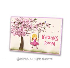 Personalized girls sign, cherry blossom tree art, girl on a swing custom name, baby nursery room sign, baby shower gift
