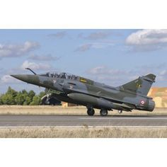 A French Air Force Mirage 2000D at Albacete Air Base Spain Canvas Art - Giovanni CollaStocktrek Images (17 x 12)