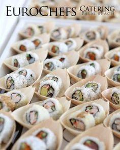 mini sushi boats, fun appetizer station